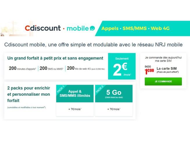 cdiscount vient d fier free mobile avec une offre 2 euros. Black Bedroom Furniture Sets. Home Design Ideas