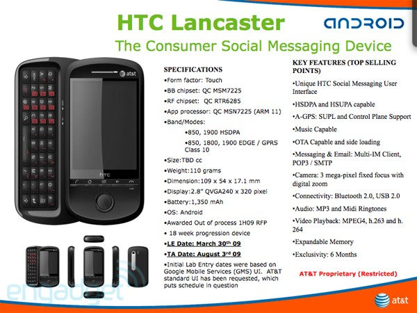 Lancaster : un 4e smartphone Android chez HTC ?