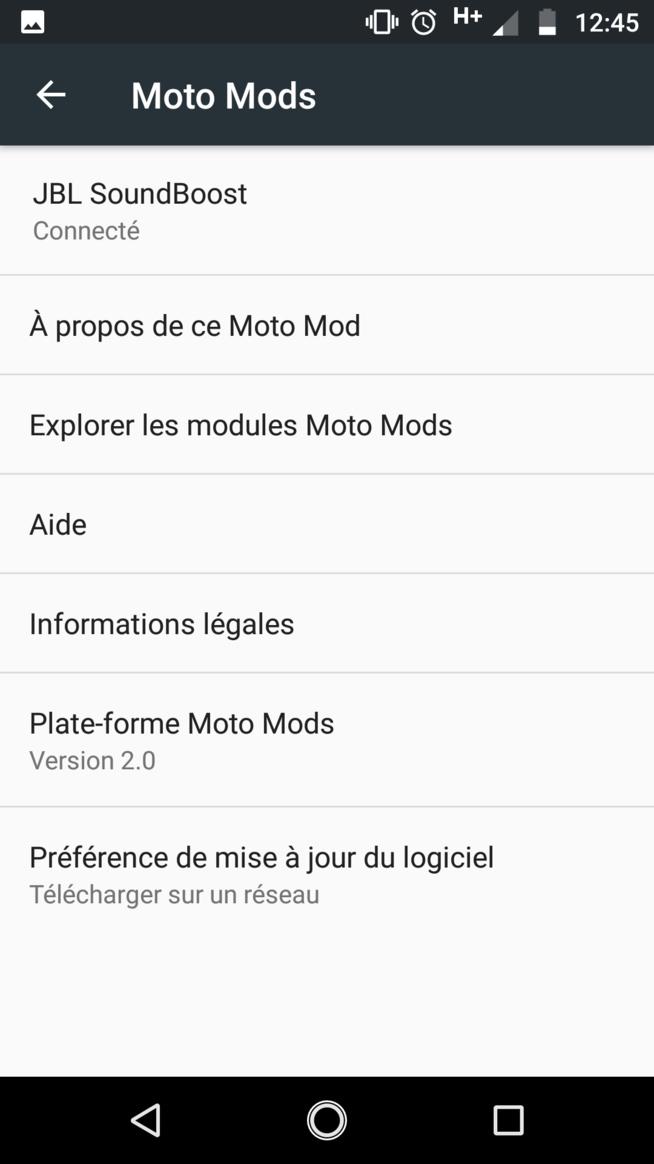 le menu mod quand le mod est connecté