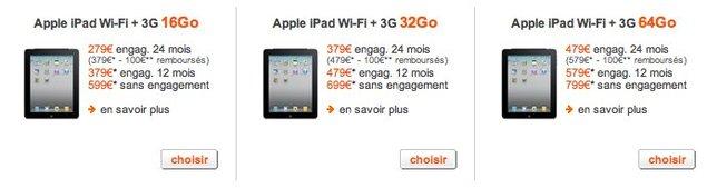 Orange commercialise l'IPad à moins de 150 €
