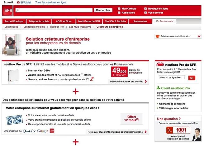 SFR s'associe à Google et Oxatis pour proposer de l'hébergement web aux TPE-PME