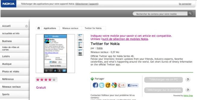 Twitter S40 sur Nokia Store