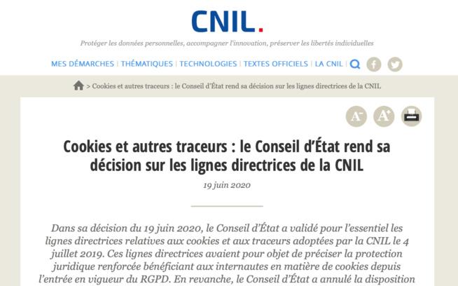 Le Conseil d'État censure les lignes directrices de la CNIL sur l'interdiction du « cookie wall »