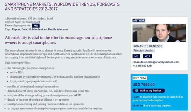 SMARTPHONE MARKETS: WORLDWIDE TRENDS, FORECASTS AND STRATEGIES 2012–2017