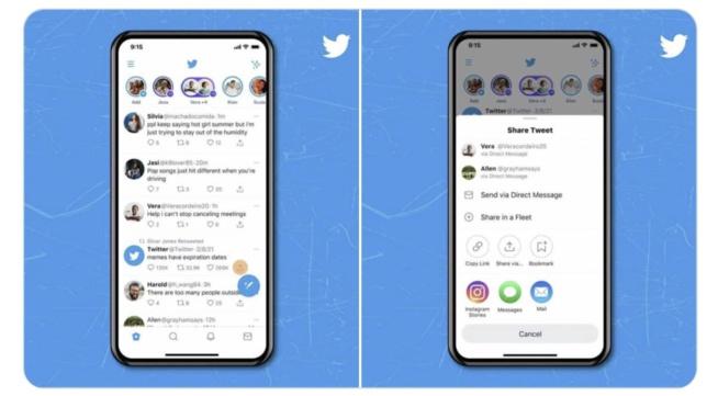 Twitter iOS : Le partage de tweets dans les stories Instagram est désormais possible !
