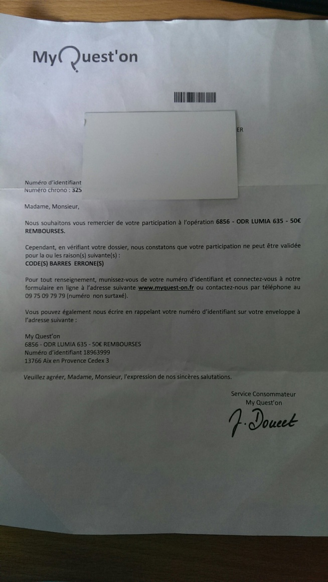 le courrier initial