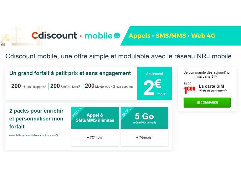 Cdiscount vient défier Free Mobile avec une offre à 2 euros