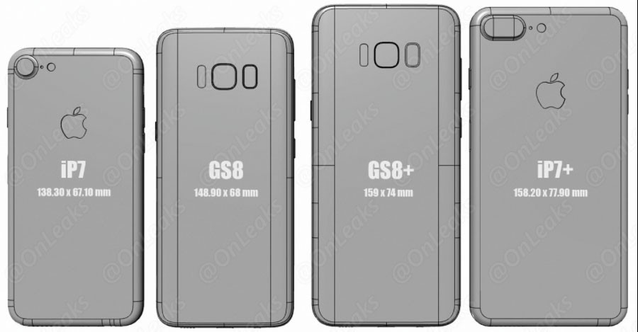 Comparaison dimensions : Galaxy S8 vs Galaxy S7, S6 et iPhone 7 Plus
