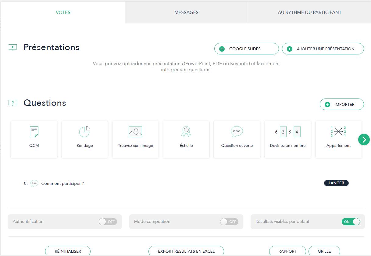 L'interface de gestion du cours interactif