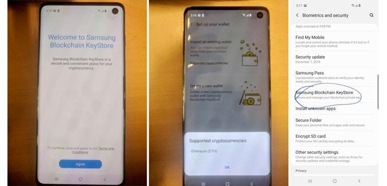 Le Samsung Galaxy S10 a un portefeuille de crypto-monnaie intégré
