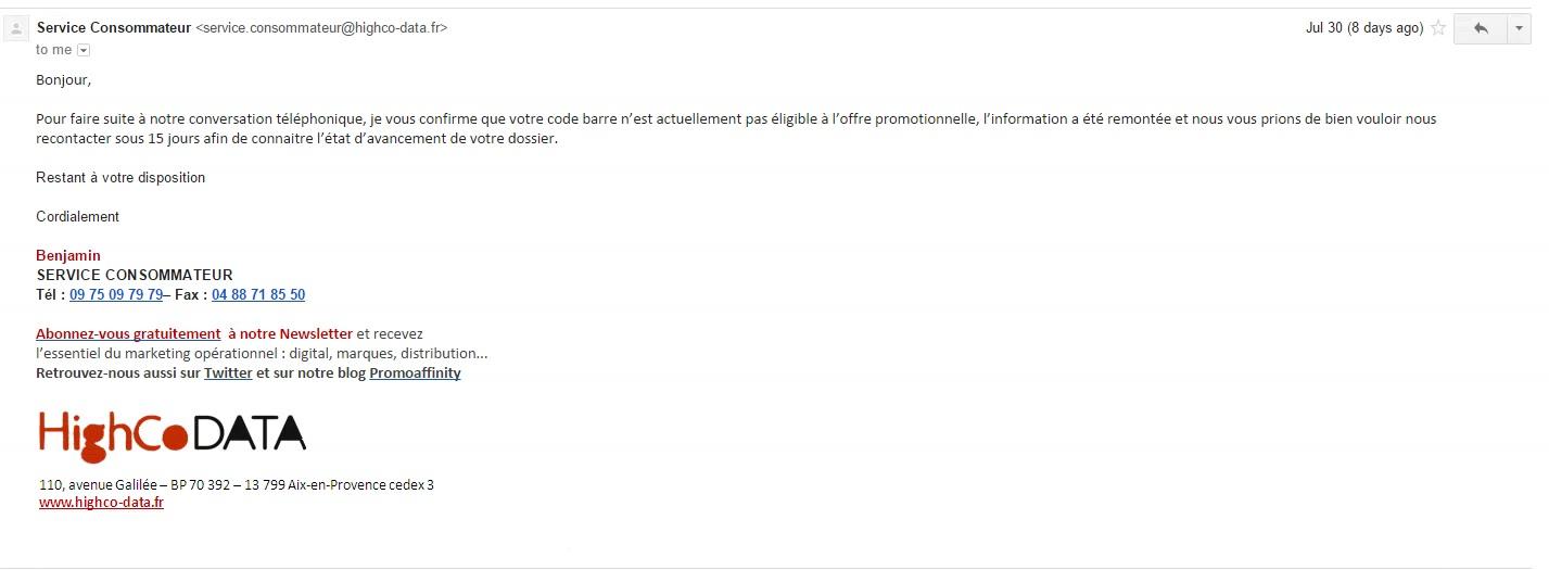 Et la réponse sybilline par mail du service consommateur